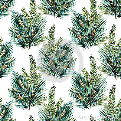Free Raster Watercolor Christmas Tree Pattern Stock Images - 61062424