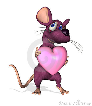 Ratón de la historieta con el corazón