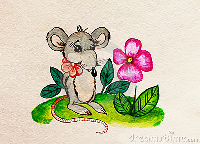 Rat with a flower. Watercolor painting