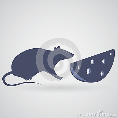 A rat and a piece of cheese with holes on a gray background Vector Illustration