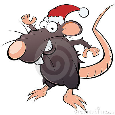 Rat in Santa Claus hat