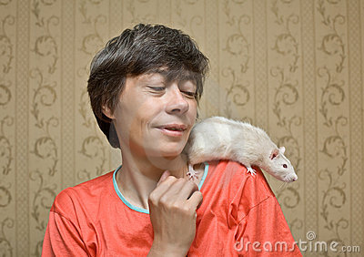 Rat on a shoulder