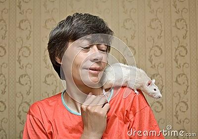 Rat on a shoulder