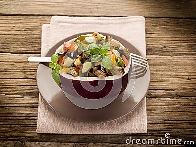 Ratatouille over  eggplant