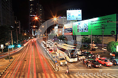 Ratchadaphisek street at Asoke intersection Editorial Photography