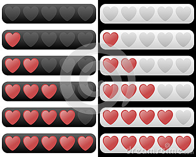 Rating Bar With Red Hearts Royalty Free Stock Photos - Image: 26558878