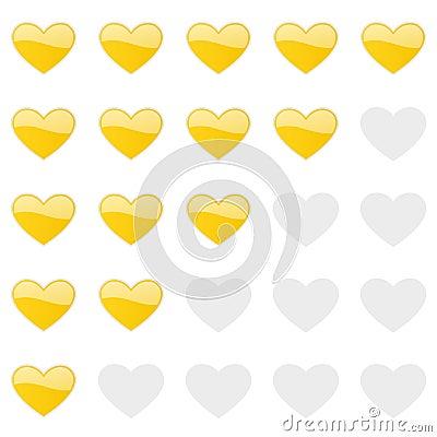 Rating hearts panel. Customer review, vote navigation bar. Vector satisfaction, like level symbol Vector Illustration