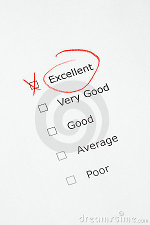 Rating scale with EXCELLENT checked