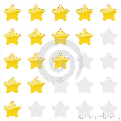 Rating stars panel. Customer review, vote navigation bar. Vector satisfaction level symbol Vector Illustration
