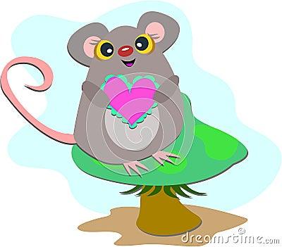 Ratón en una seta