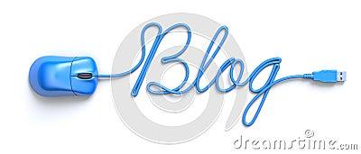 Ratón y cable azules en la forma del palabra-blog