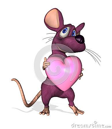 Rato dos desenhos animados com coração