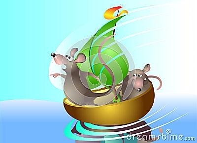 Rats sail on boat
