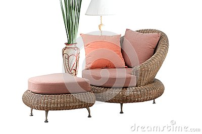 Rattan sofa and stool