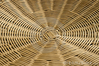 Rattan weave in radial pattern.