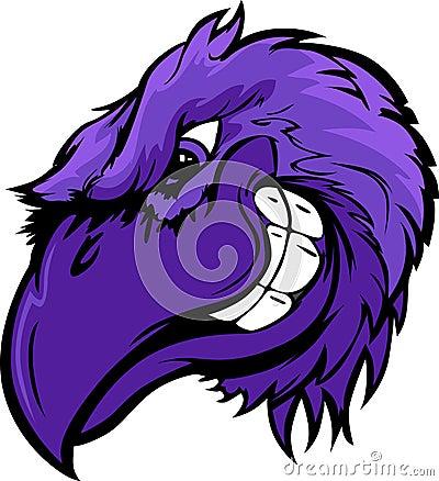 Raven Bird Head Cartoon Illustration