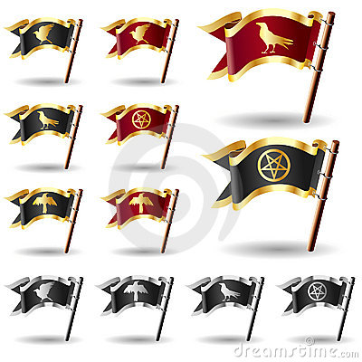 Raven, crow, and pentagram icons on flag buttons