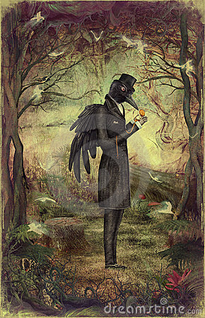 Raven in forest