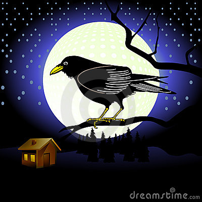 Raven and full moon