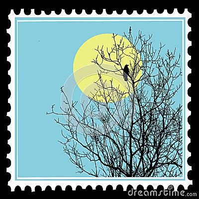 ravens on tree on postage stamps
