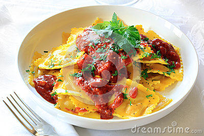 Ravioli with Bolognese Sauce