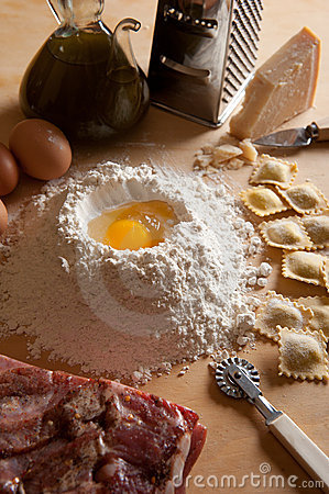 Ravioli Homemade pasta with meat