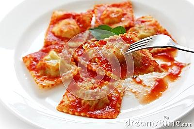 Ravioli pasta with tomato sauce , italian food
