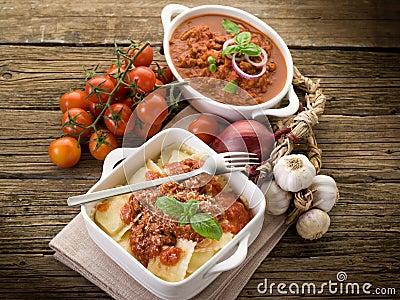 Ravioli with ragout sauce