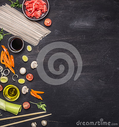 Free Raw Buckwheat Noodles, Pickled Ginger, Onion, Chopped Pepper, Chopsticks, Soy Sauce, Ingredients Cooking Asian Food Border ,pl Stock Photos - 68277133