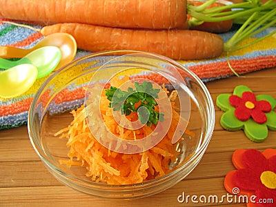 Raw carrot mash for children