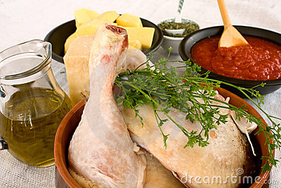 Raw Chicken With Ingredients For Cooking