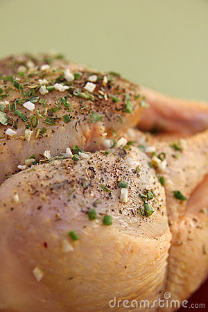 Raw chiken with herbs, French recipe