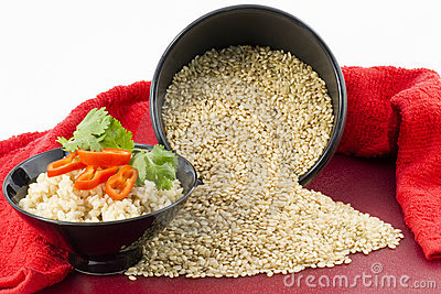 Raw and Cooked Brown Rice