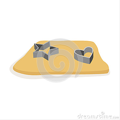 Free Raw Dough For Cookies And Cookie Cutters Vector Illustration Royalty Free Stock Photography - 93491517