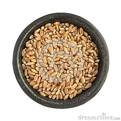 Free Raw Dry Wheat Grain Grains Heap In Black Iron Bowl Stock Image - 86008571