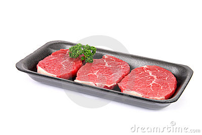 Raw eye of round steaks