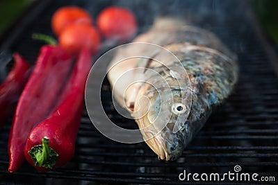 Raw fish grill Stock Photo