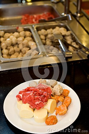 Raw food on the buffet