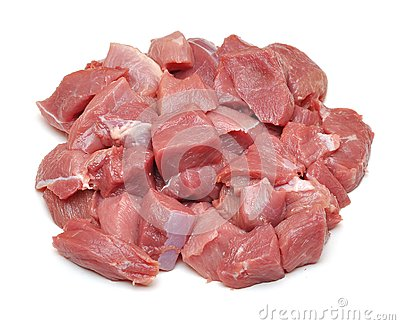 Raw fresh meat sliced in cube