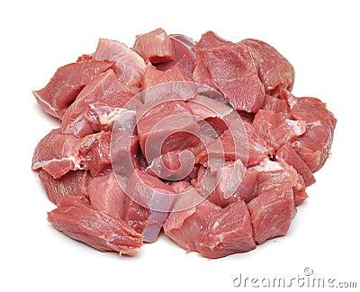 Raw fresh meat sliced in cube