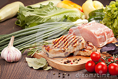 Raw and grilled meat  with vegetables