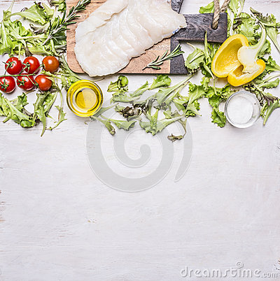 Free Raw Halibut On A Cutting Board Tomatoes, Oil, Pepper Spices Wooden Rustic Background Top View Close Up Border ,place F Royalty Free Stock Photos - 65611858