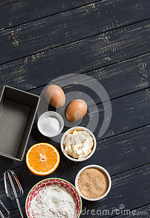 Free Raw Ingredients - Flour, Eggs, Butter, Sugar, Orange - To Cook Orange Cake. Ingredients For Baking. Stock Images - 57467154