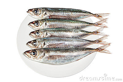 Raw mackerel on a plate.