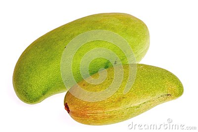 Raw mango on white background