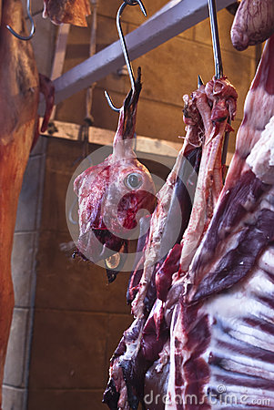 Raw meat in a carnage at the market