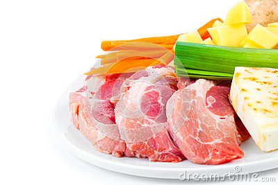 Raw meat with fresh vegetables