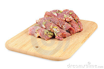 Raw meat,  with spices