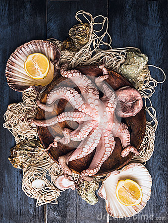 Free Raw Octopus In Bowl On  Fishing Net With Sea Shell And Lemon , Blue Wooden Table Royalty Free Stock Photo - 50355635