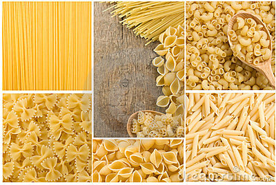 Raw pasta collage